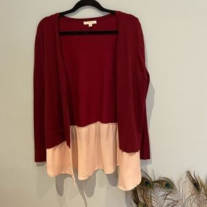 Anthro Skies are Blue Burgundy/Cream Cardigan, L